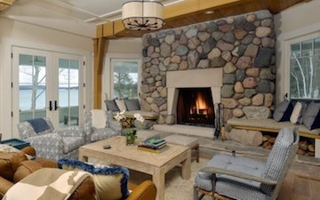 luxury living room fireplace stone